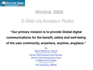Winlink 2000 Email by means of Beginner Radio