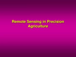 Remote Detecting in Accuracy Farming