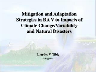 Moderation and Adjustment Procedures in RA V to Effects of Environmental Change/Variability and Characteristic Calamitie