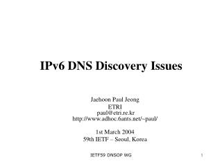 IPv6 DNS Disclosure Issues