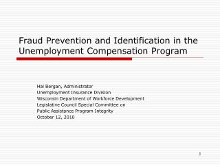 Extortion Counteractive action and Recognizable proof in the Unemployment Remuneration Program