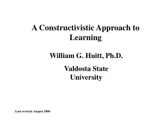 A Constructivistic Way to deal with Learning