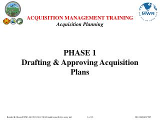 Stage 1 Drafting and Supporting Procurement Arranges