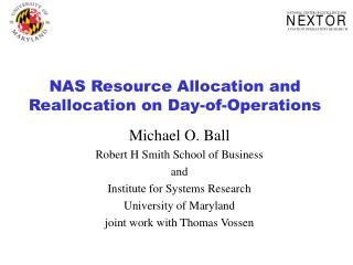 NAS Asset Assignment and Reallocation on Day-of-Operations
