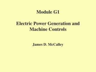 Module G1 Electric Force Era and Machine Controls