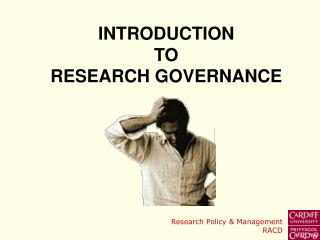 Prologue TO RESEARCH GOVERNANCE
