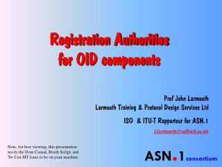 Enlistment Authorities for OID parts