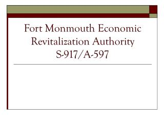Stronghold Monmouth Economic Revitalization Authority S-917