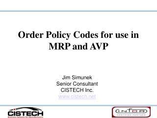 Request Policy Codes for utilization in MRP and AVP
