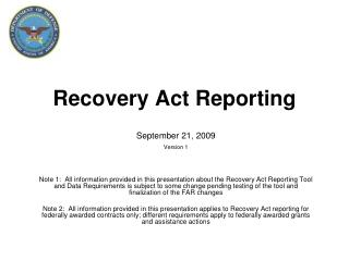 Recuperation Act Reporting