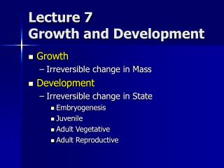 Address 7 Growth and Development