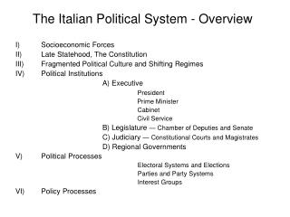 The Italian Political System - Overview
