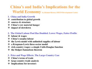 China s and India s Implications for the World Economy by Helmut Reisen, OECD Development Center