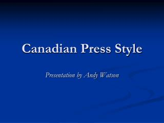 Canadian Press Style