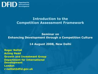 Prologue to the Competition Assessment Framework Seminar on Enhancing Development through a Competition Culture