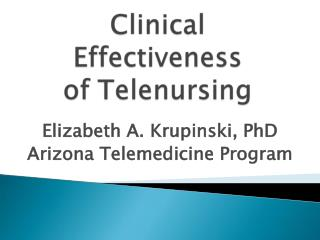 Clinical Effectiveness of Telenursing