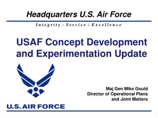 USAF Concept Development and Experimentation Update