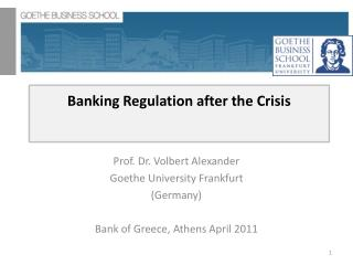 Keeping money Regulation after the Crisis