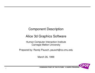 Part Description Alice 3d Graphics Software Human Computer Interaction Institute Carnegie Mellon University Prepare