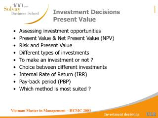Venture Decisions Present Value