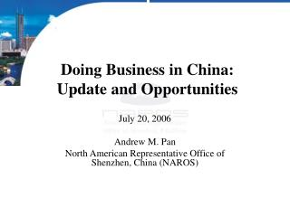 Working together in China: Update and Opportunities