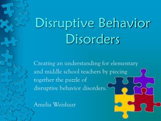 Problematic Behavior Disorders