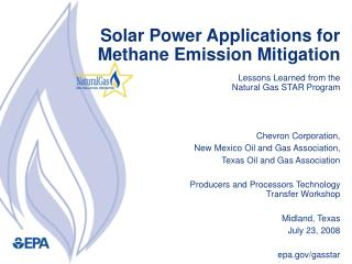 Sun based Power Applications for Methane Emission Mitigation