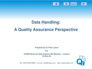 Information Handling: A Quality Assurance Perspective