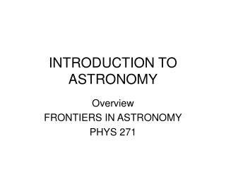 Prologue TO ASTRONOMY