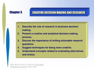 Imaginative DECISION MAKING AND RESEARCH