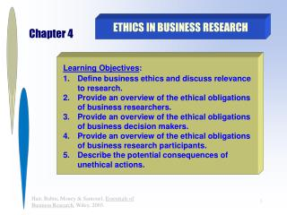 Morals IN BUSINESS RESEARCH