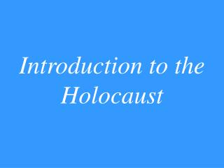 Prologue to the Holocaust