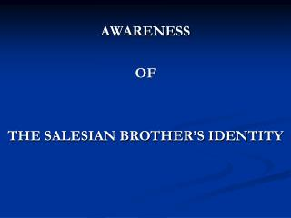 Consciousness of THE SALESIAN BROTHER S IDENTITY