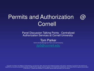 Grants and Authorization Cornell