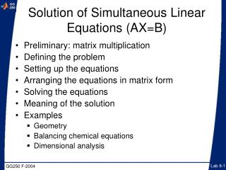 Arrangement of Simultaneous Linear Equations AXB