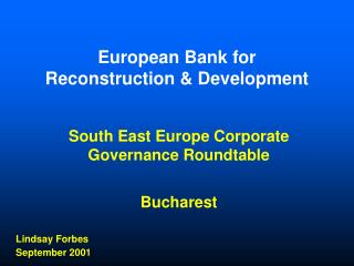 EBRD : Active in Corporate Governance
