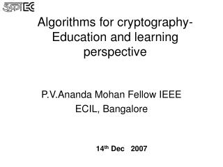 Calculations for cryptography-Education and learning point of view