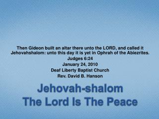 Jehovah-shalom The Lord Is The Peace