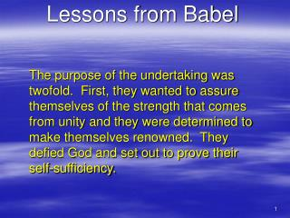 Lessons from Babel