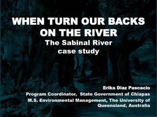 At the point when TURN OUR BACKS ON THE RIVER The Sabinal River contextual investigation