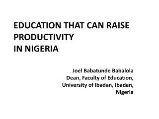 Training THAT CAN RAISE PRODUCTIVITY IN NIGERIA