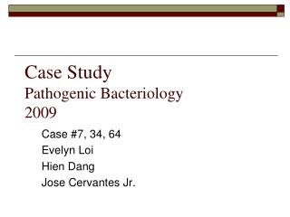 Contextual investigation Pathogenic Bacteriology 2009