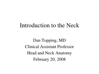 Prologue to the Neck