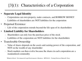 Qualities of a Corporation