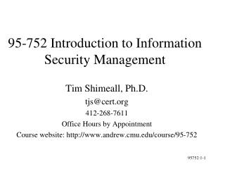 95-752 Introduction to Information Security Management