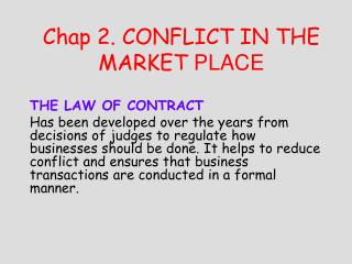 Chap 2. Strife IN THE MARKET PLACE