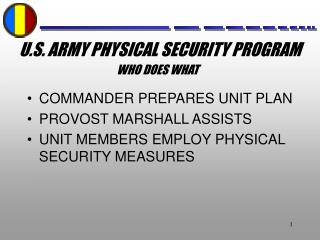 U.S. Armed force PHYSICAL SECURITY PROGRAM
