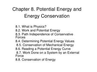 Section 8. Potential Energy and Energy Conservation