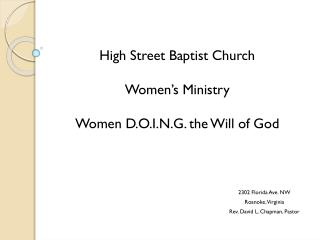 High Street Baptist Church Women
