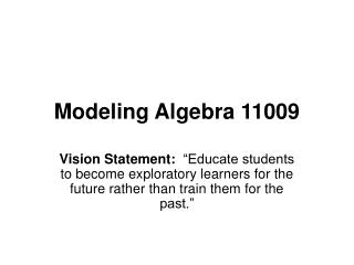 Demonstrating Algebra 11009